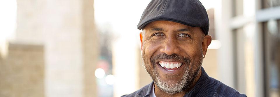 Man grinning at camera