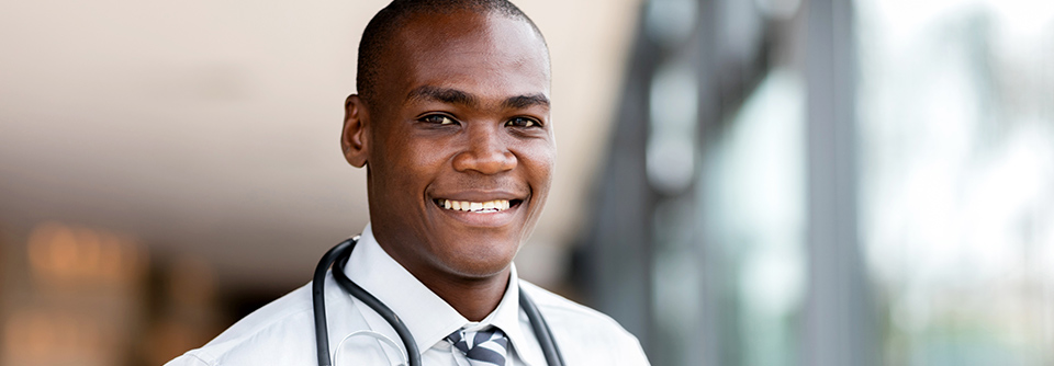 Male doctor wearing stethoscope